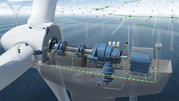 状態監視システムは、風力タービンの駆動部に取り付ける7つの加速度センサーを特徴としています。