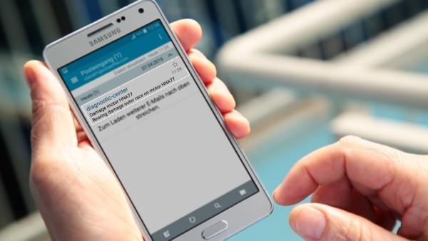 機械オペレータは、デジタルサービス「ConditionAnalyzer」から電子メールで通知を受け取り、モバイル機器で簡単に読むことができます。